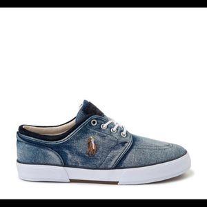 Mens Polo Ralph Lauren Denim Shoe with logo blue